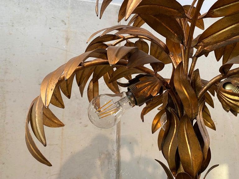 German Gold-Plated Palm Tree Floor Lamp by Hans Kögl, 1970, Hollywood Regency Design For Sale