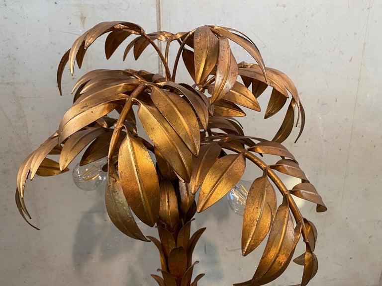Gilt Gold-Plated Palm Tree Floor Lamp by Hans Kögl, 1970, Hollywood Regency Design For Sale