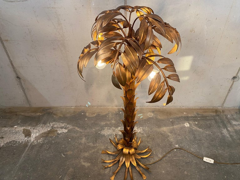 Gold-Plated Palm Tree Floor Lamp by Hans Kögl, 1970, Hollywood Regency Design In Fair Condition For Sale In Hamburg, DE