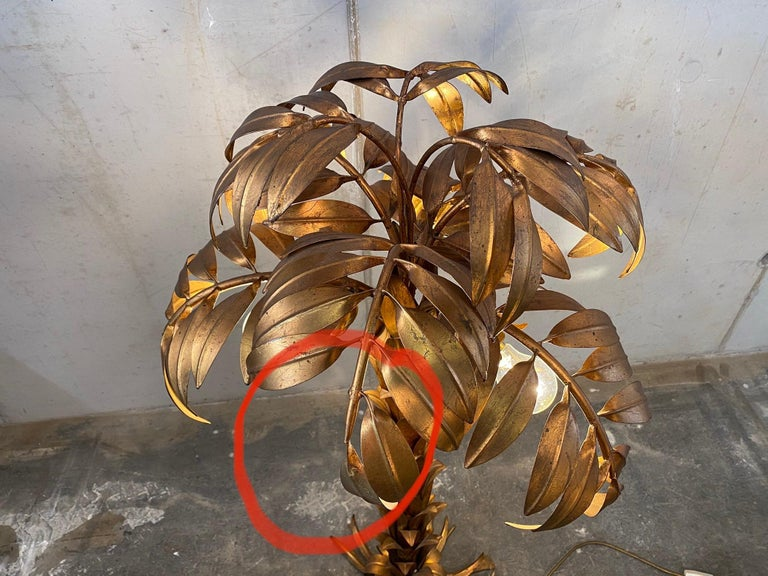 Mid-20th Century Gold-Plated Palm Tree Floor Lamp by Hans Kögl, 1970, Hollywood Regency Design For Sale