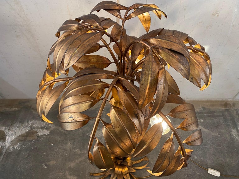 Gold-Plated Palm Tree Floor Lamp by Hans Kögl, 1970, Hollywood Regency Design For Sale 1