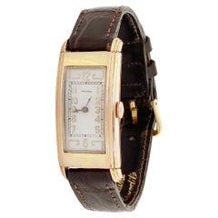 Gold Plated Rectangular Art Deco Style Watch w Crocodile Strap by Waltham, 1940s