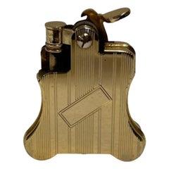 Gold-Plated Ronson Banjo Stylish Design Petrol Lighter, Japan