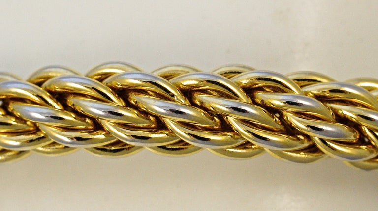 Gold Plated Rope Twist Bangle Bracelet with Givenchy Double G Logo Circa 1980s In Good Condition For Sale In London, GB