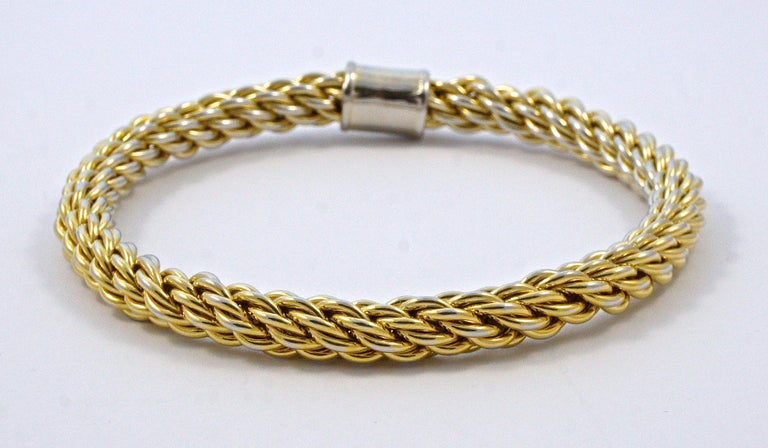 Women's or Men's Gold Plated Rope Twist Bangle Bracelet with Givenchy Double G Logo Circa 1980s For Sale