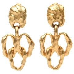 Gold Plated Sculptural Clip On Dangle Earrings
