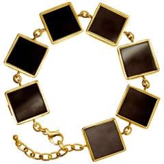 Gold Plated Silver Art Deco Style Link Bracelet by the Artist Dark Smoky Quartz