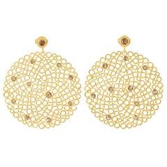 Gold-Plated Silver Cinnamon Diamond Earrings