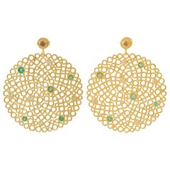 Gold-Plated Silver Emerald Diamond Earrings