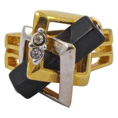 Gold Plated Silver Plated Ring with Black Cuboid and Clear Rhinestone Decoration