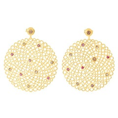 Gold-Plated Silver Ruby, Diamond Earrings
