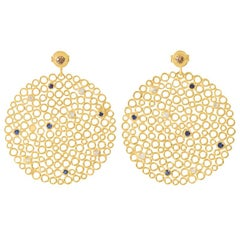 Gold-Plated Silver Sapphire, Diamond Earrings