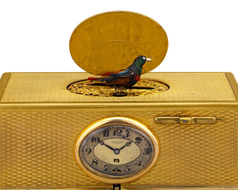 Other Gold-Plated Singing Bird Box and Clock For Sale