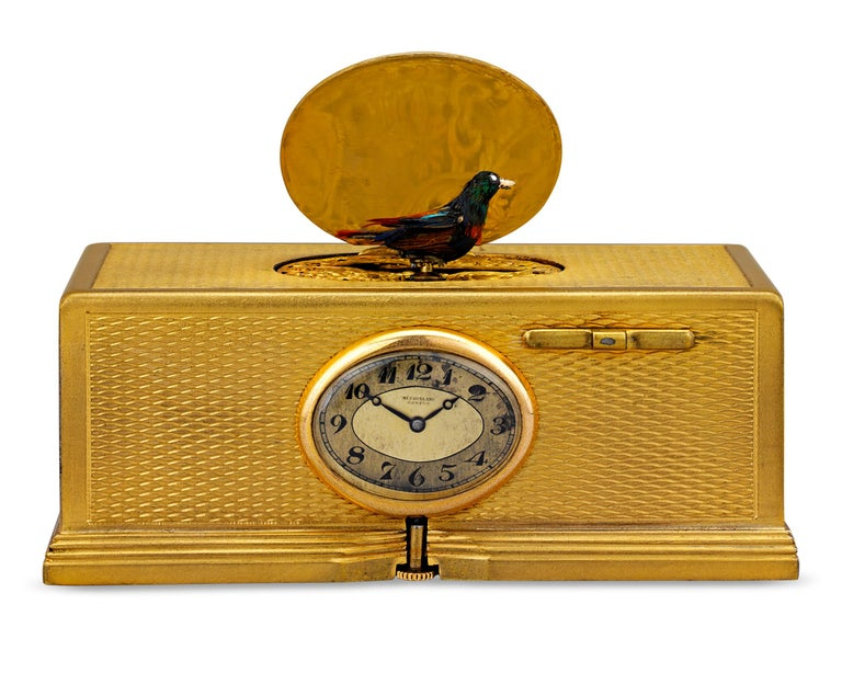 Gold-Plated Singing Bird Box and Clock In Good Condition For Sale In New Orleans, LA