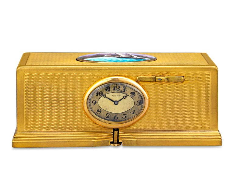 19th Century Gold-Plated Singing Bird Box and Clock For Sale