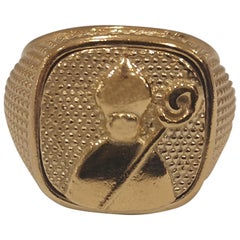 Gold plated St Januarius San Gennaro ring