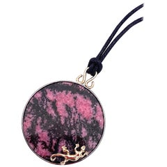 Ugolini Unique Piece Gold Silver Pink and Black Gecko Pendent Silk Necklace