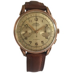 Gold-Plated Swiss Vintage 1950s Delbana Chronograph Watch