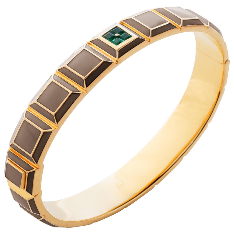 Gold-Plated Taupe Enamel Emerald Carousel Bracelet