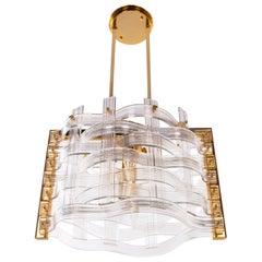 Gold Plated Venini 'Nastri'  Murano Glass Chandelier, Italy