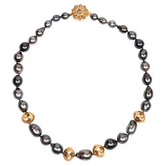 Gold Plated Vintage Star Fruit Beads Tahitian Pearls Beaded Necklace
