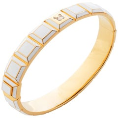 Gold-Plated White Enamel Butterfly Carousel Bracelet