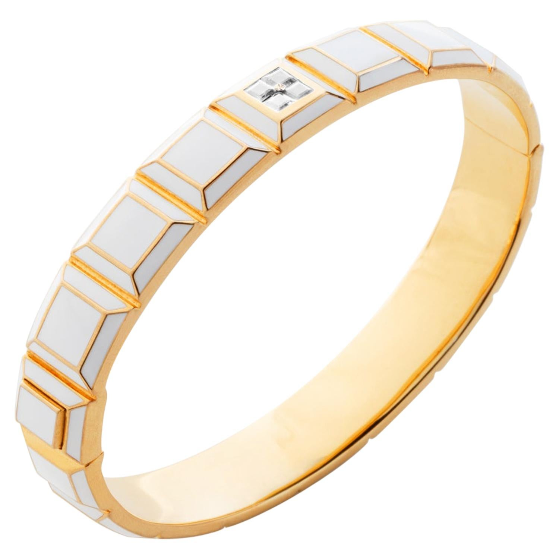 Gold-Plated White Enamel White Sapphire Carousel Bracelet