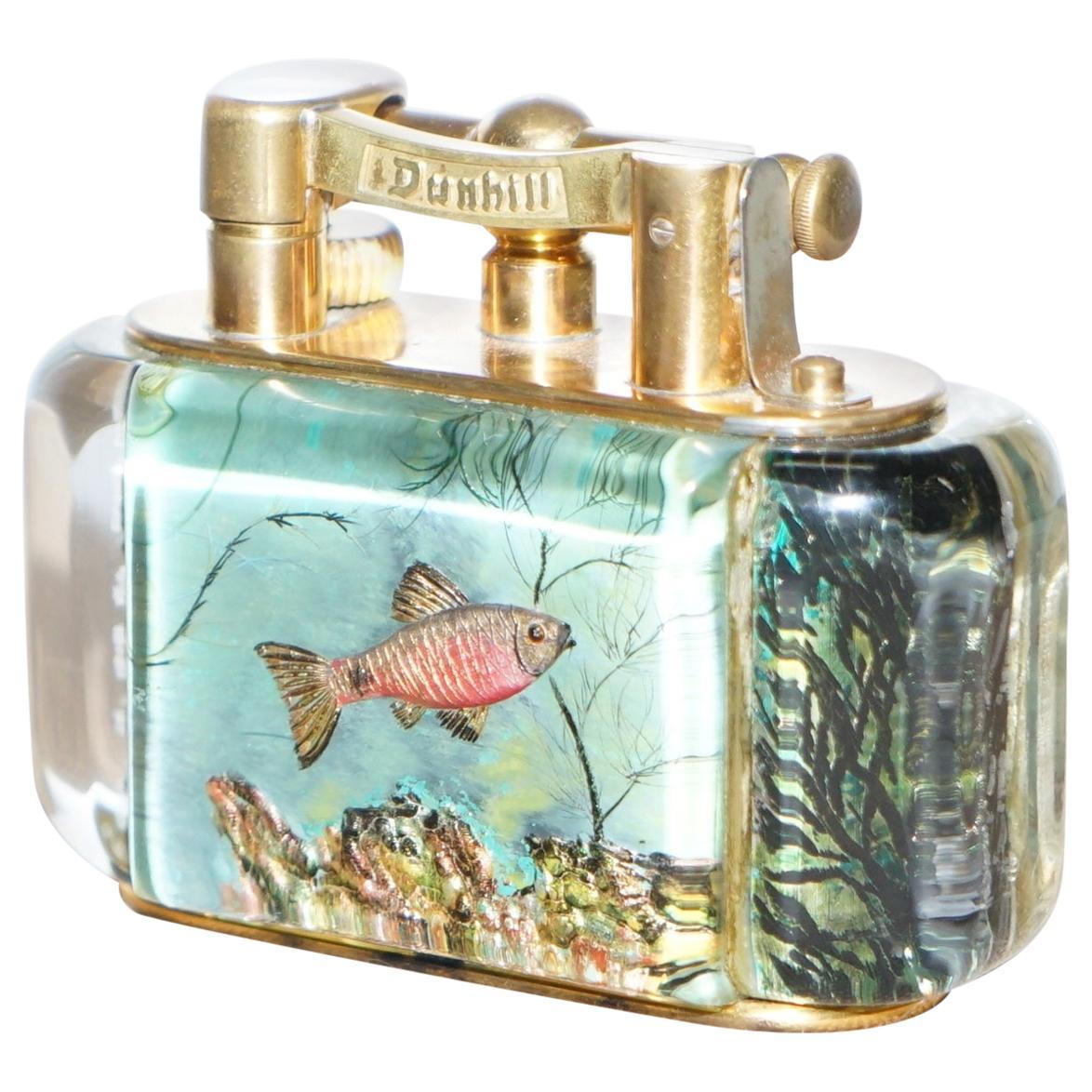 Gold-Plated Winston Churchill 950's Dunhill Aquarium Oversized Table Lighter