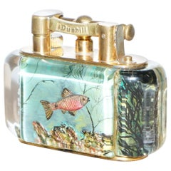 Gold-Plated Winston Churchill 950's Dunhill Aquarium Oversized Table Lighter