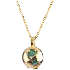 Gold Plated World Globe Locket - Green Jade