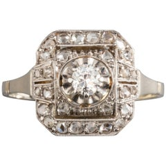 Gold Platinum And 0.40 Carat Diamonds French Art Deco Ring