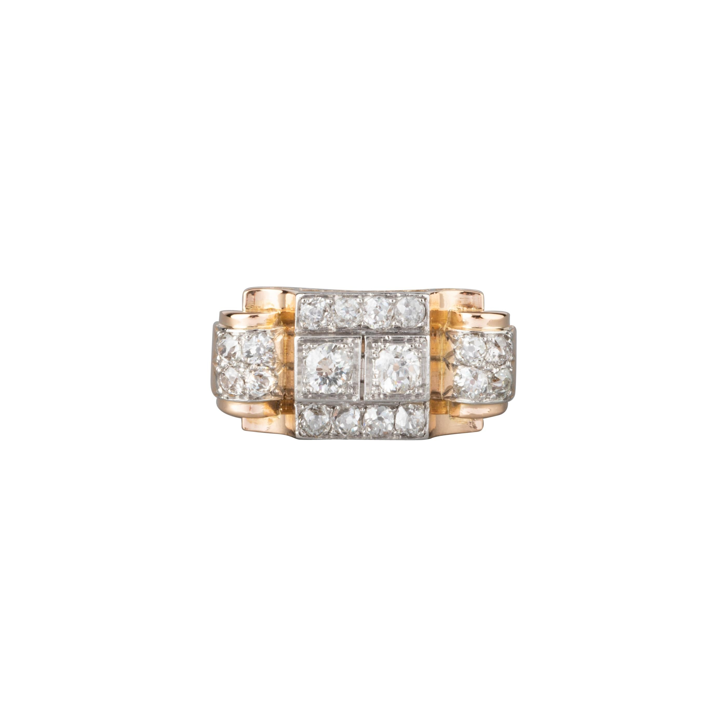 Gold Platinum and 1.20 Carat Diamonds French Tank Ring