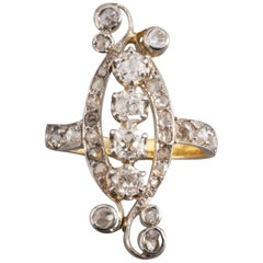 Gold Platinum and 1.50 Carat Diamonds French Belle Epoque Ring