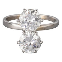 Gold Platinum and 2.75 Carat Diamonds French Toi et Moi Ring