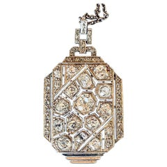 Gold Platinum and 3 Carats Diamonds French Art Deco Pendant Necklace