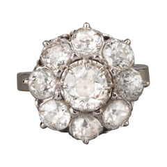 Gold Platinum and 3.20 Carats Diamonds French Antique Ring
