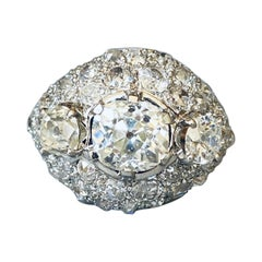 Gold Platinum and 5.70 Carats Diamonds French Retro Ring
