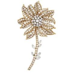 Gold, Platinum and Diamond Flower Clip-Brooch, David Webb