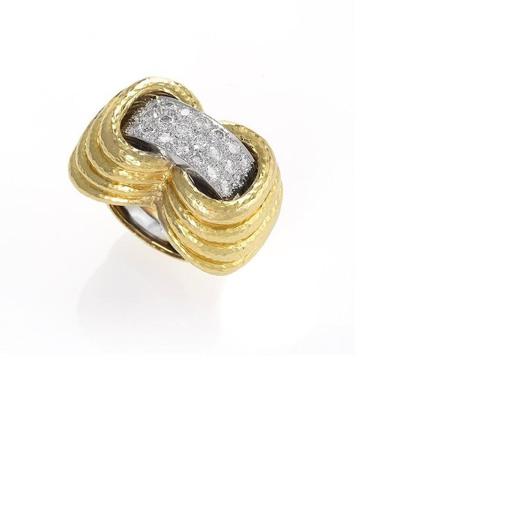 Gold, Platinum and Diamond Ring by David Webb In Excellent Condition In New York, NY