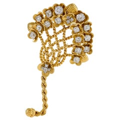 Gold, Platinum and Diamond Stylized Flower Bouquet Brooch by Cartier