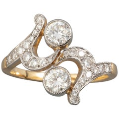 Gold Platinum and Diamonds French Antique Ring