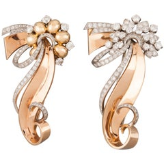 Gold Platinum and Diamonds French Clips Brooches