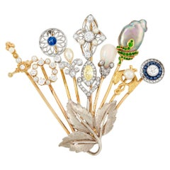 Gold, Platinum, Colored Diamond and Gem-Set Stick-Pin Brooch