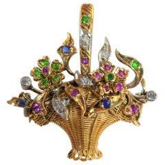 Gold Platinum Diamond Ruby Sapphire Green Demantoid Flower Basket Pendant Brooch