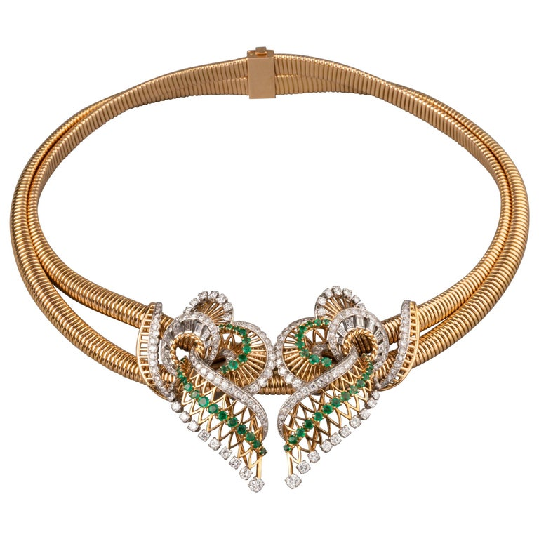 Gold Platinum Emeralds and 7 Carat Diamonds French Vintage Necklace For Sale