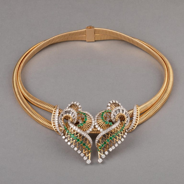 Gold Platinum Emeralds and 7 Carats Diamonds French Vintage Necklace  Very beautiful necklace, made in France circa 1945/1950. We call that style