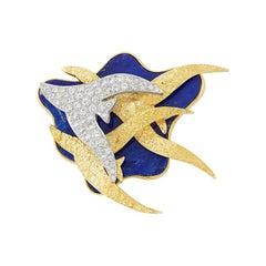 Gold Platinum Lapis Diamond Bird Clip-Brooch