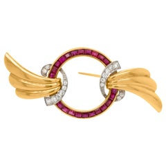 Gold, Platinum, Ruby and Diamond Brooch