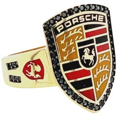 Gold Porsche Cigar Band Ring with Enamel and Black Spinel