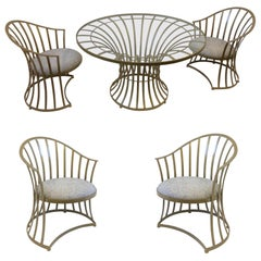 Gold Powder Coated Patio Set by Russell Woodard